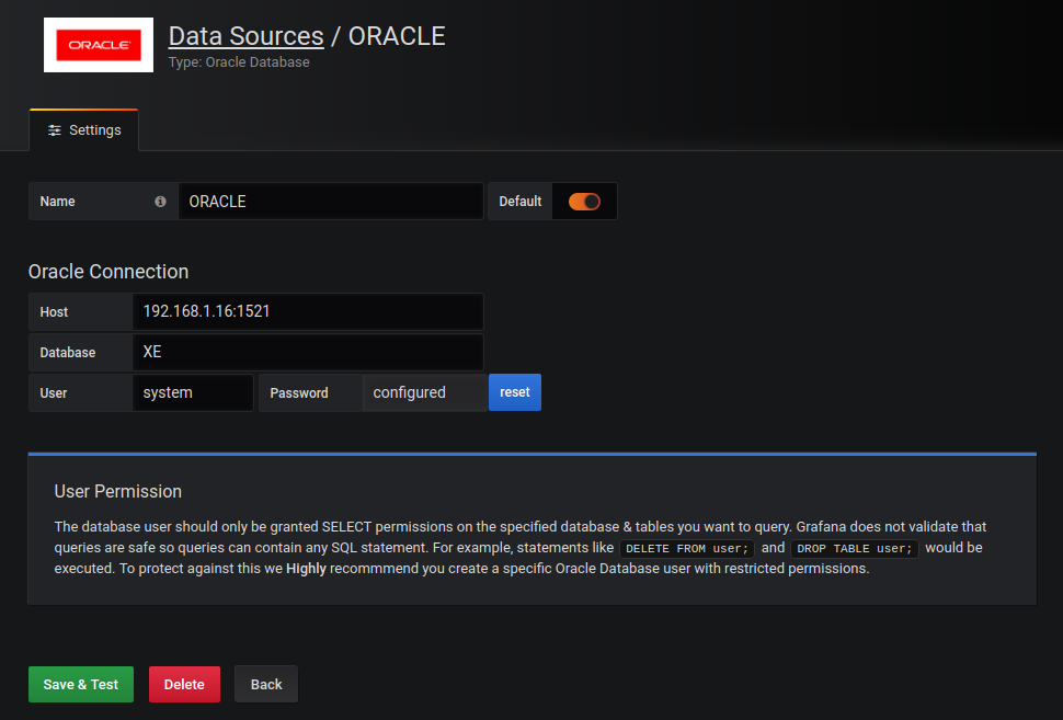 Oracle Database plugin for Grafana | Grafana Labs